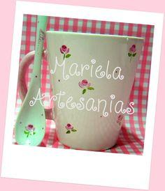 """taza """"rositas""""(pintadas a mano)"""