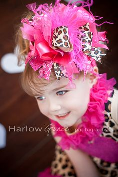 Raspberry Dazzle Leopard Bling Over the Top Hair Bow with matching headband