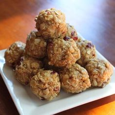 PB Energy Snacks...  1/2 cup peanut butter, 1/3 cup honey, 1/2 tsp vanilla, 1/4 tsp cinnamon, 1 cup old-fashioned rolled oats, 1 cup crisp rice cereal, 1/4 cup sunflower seeds or chopped nuts  1/4 cup chopped dried cranberries or mini chocolate chips