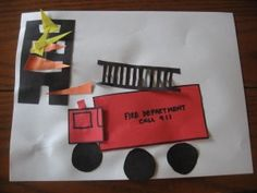 Shape Fire Truck Craft - perfect for fire prevention week.