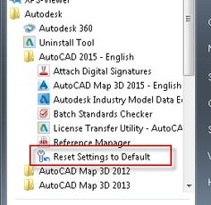'Reset settings to default' resets the wrong product-profile when AutoCAD 2015 and AutoCAD Map 3D 2015 are both installed