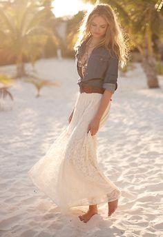 denim shirt with white maxi