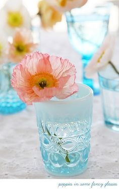 Poppies in Tiffany Blue Fancy Glasses
