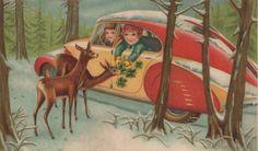 Feeding the deer at christmas