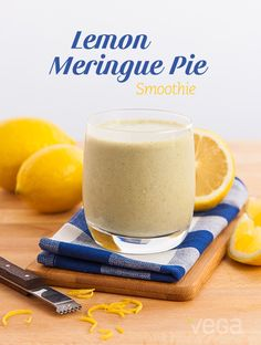 """Lemon """"Meringue"""" Pie Smoothie: Fresh and bright, this smoothie brings summer to mind (even though it's the dead of winter). Lemon zest adds an extra kick of flavor, but be sure to just use the outer peel. The pith (the white, spongy layer between the peel and fruit) will make your smoothie bitter! #VegaSmoothie #BestSmoothie"""
