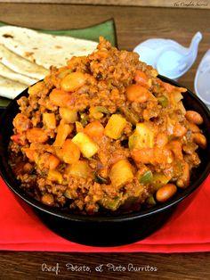 Beef, Potato, & Pinto Burrito ~ The Complete Savorist #beef #potatoes #beans #burritos #cheese