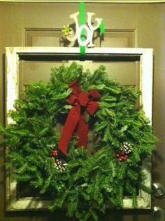 old window frames, christmas wreaths, christma wreath, old windows