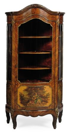 A EUROPEAN KINGWOOD, VERNIS MARTIN AND GILT-METAL VITRINE -  OF LOUIS XV STYLE, LATE 19TH CENTURY