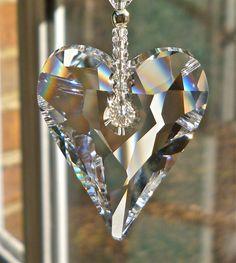 bling, heart suncatch, crystal suncatcher, bohemian heart, crystal hearts