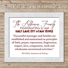 Personalized LDS Family Proclamation Quote with sealing or established date - printable