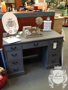 Antique Desk done in #MaisonBlanchePaint Confederate Gray with Dark Brown wax.  #ChalkPaint #Furniture #Painting #ShabbyChic