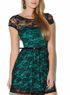 Sweetheart Belted Lace Dress - StudentRate emeralds, party dresses, belt lace, cloth, sweetheart belt, skater dresses, lace dresses, belts, wet seal