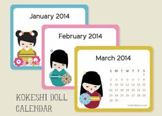 "Cute free printable label Kawaii Kokeshi-mini-calendar for 2014. Print on worldlabel's WL-150 4"" x 3.33"" labels  http://www.worldlabel.com/Pages/wl-ol150.htm"