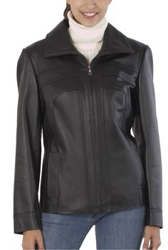 This BGSD Women's Leather Scuba Jacket would make a perfect #Christmas gift. This smooth leather jacket is accented with bow seams and a zip front closure.  $79.99   http://www.luxurylane.com/415-109666-blk.html