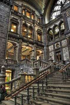 stair, antwerp central, railway station, architectur, beauti, belgium, travel, central station, place