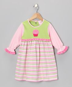 Take a look at this Pastel Stripe Cupcake Ruffle Dress - Infant, Toddler & Girls by Young Colors on #zulily today!