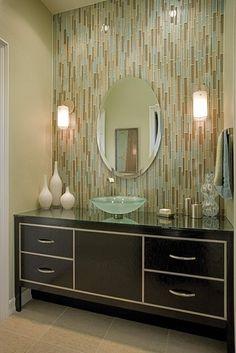 Vertical tile design - bath wall