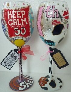 Image Detail for - Fun Personalized Hand Painted Wine Glass goblet Flute Birthday ...