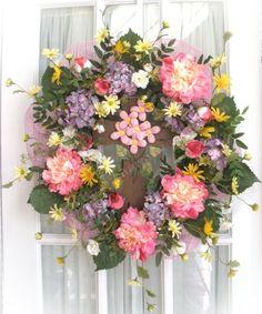 Silk & Mesh Wreath with Cross