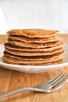 . banana oat greek yogurt pancakes . - . running with spoons .