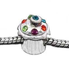 Silver Plated Rhinestone Cupcake Birthday Bead Charm Spacer Bead Fits European Pandora Troll Pugster Other Type Bracelet ChiChi Beads,
