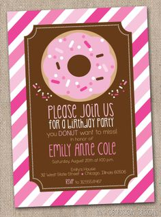 Donut Party Printable Birthday Party Invitation