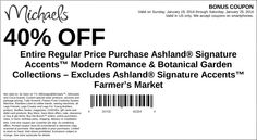 Michaels: 40% off Ashland Signature Accents Printable Coupon