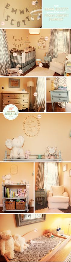 Emma Scott's peach perfect #nursery #decor #furniture / by Laura from Paper + Coco, via Lay Baby Lay