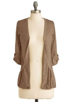 Ready, Sunset, Go Cardigan in Dusk - Brown, Solid, Casual, 3/4 Sleeve, Sheer, Mid-length