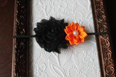 Halloween Headband Black Shabby Flower by TinyElephantBowtique