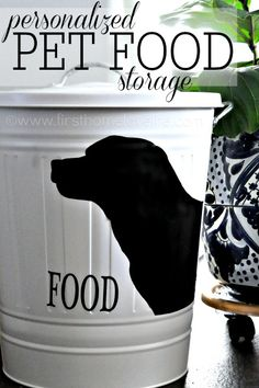 Personalized Pet Food Storage via www.firsthomelovelife.com #pets #dogs #cats #petfood #silhouette #ikea #diy #crafts