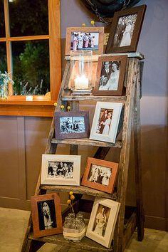 Rustic, Country, Old Photo Ladder, Unity Candle. Pictures of those passed before w a candle lit for each.