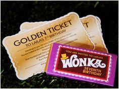 Willy Wonka Birthday Party ~ Golden Ticket Invitations