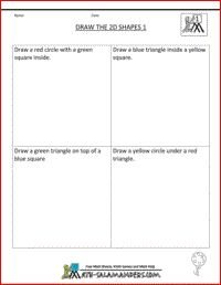 Draw 2D shapes, printable geometry worksheets 1st grade