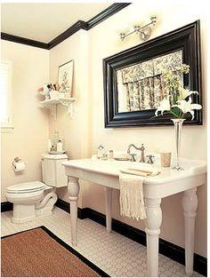 mirror, baseboard, crown, white walls, sink, hous, white bathrooms, powder rooms, guest bathrooms