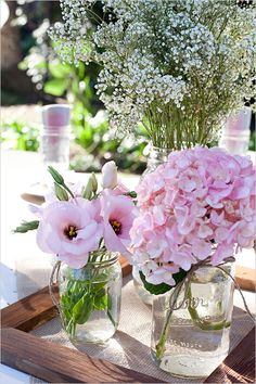 pretty pink and white mason jar florals