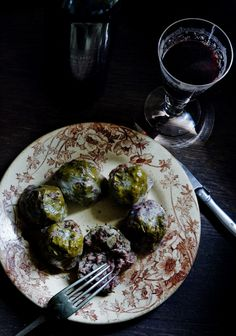 Savoury cannelés with black pig, foie fras and vine leaves