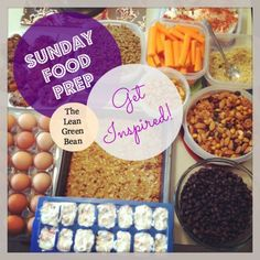 Lots of ideas for easy meal prepping on Sunday nights ... save hassle during the week and can be used for healthy lunches!