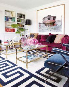 velvet, graphic greek key rug + brass