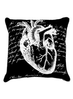 """Anatomical Heart"" Pillow by Spitfire Girl #InkedShop #anatomical #heart #pillow #homegoods #home #decor"