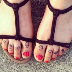 Cute toe tattoo for girls - ice cream, heart, food, fruit, strawberry, watermelon, candy, ball