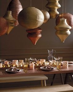Spray paper lanterns with metallic spray paint for this look. Get the size and shape that works for you: http://www.partylights.com/Lanterns/White