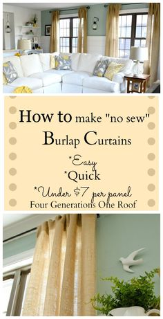 How to make curtains using burlap for under $7 per panel in a family room makeover. Easy {tutorial} #DIY #Curtains #Burlap by Jessica Bruno @ www.fourgenerationsoneroof.com #DIY #curtains #burlap