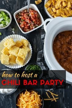 Hosting a DIY Chili Bar Party is an easy and affordable way to gather with friends and family as the weather turns cooler. Plus you can make most everything ahead of time so you have more time to mingle with guests. #chilibar #tailgating #halloween