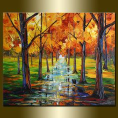 Original Textured Palette Knife Landscape Painting by willsonart