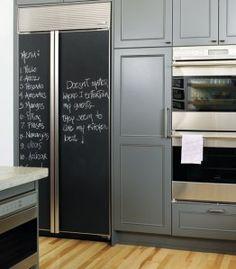 Love the chalkboard fridges!