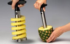 Pineapple Corer - One of my friends brought this #pineapple corer over to my place at our the last #BBQ. He definitely impressed everyone. It peels, cores, and slices an entire pineapple in seconds. Completely eliminates the chore of cutting up a pineapple. Plus, it's fun to watch.   Read more: http://www.methodshop.com/2014/07/clever-kitchen-tech.shtml#ixzz36bY6yXJI