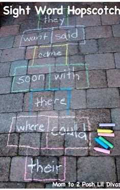 """""""La Rayuela"""": Sight Word Hopscotch-convert to Spanish words...i am thinking great way to learn colors in Spanish!"""