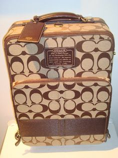 Coach Brown Legacy Stripe Signature Wheeled Luggage Carry On