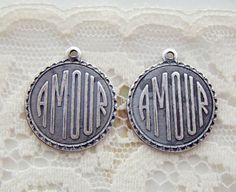 Antiqued Silver Ox Romantic AMOUR  Charm by alyssabethsvintage, $3.30